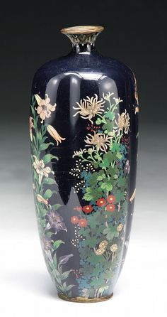A Japanese Antique Silver Ando Cloisonne Vase: of 19th Century