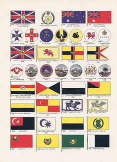 British Colonial Flags, Vintage Illustration, Colonies, Australia, Ceylon, Hong Kong, Seychelles, World War I Era, 1917, Patriotic. via Etsy.