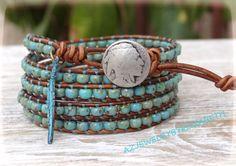 Turquoise And Seed Bead Leather Wrap Bracelet, Hand Crafted Native American Leather Wrap Bracelet, Seed Bead Bracelet....
