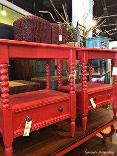 Foyer Table Addition from Nadeau - Southern Hospitality Red Nightstand, Nightstands, Exterior Design, Interior And Exterior, Foyer, Entryway Tables, Nadeau Furniture, Small Wood Projects, Good Sleep