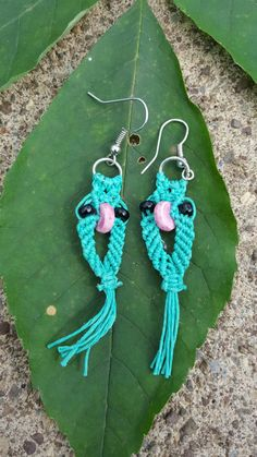Check out this item in my Etsy shop https://www.etsy.com/listing/239954936/teal-macrame-owl-earrings