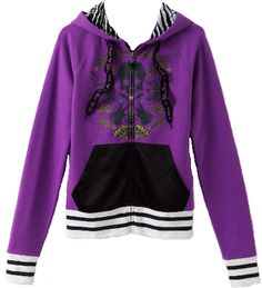 Abbey Dawn purple, black and white skull and guitar hoodie