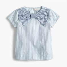 A striped cotton shirt with a fun bow makes school days and Saturdays way cuter. Cotton. Machine wash. Import. Select stores.