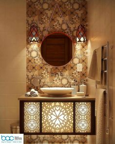 Bathroom interior design classic powder rooms 51 Ideas for 2019 Bathroom Sink Units, Bathroom Spa, Bathroom Colors, Washroom, Moroccan Bathroom, Bathroom Mirror Lights, Mirror With Lights, Muebles Home, Bath Trends