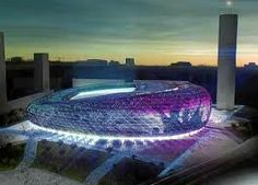 That glow around the base Soccer Stadium, Football Stadiums, Unusual Buildings, Modern Buildings, Futuristic Architecture, Architecture Design, Casablanca, World Cup Stadiums, Stadium Architecture