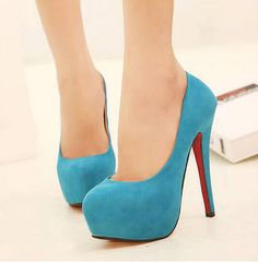 "Toe Shape: Round Toe Upper Material: Suede Heel Height: High (More Than 8 Cm) Outsole Material: Rubber Heel Type: Thin Heels Color: Black, Red, Blue Size: 4.5 (US size) Foot Length: 8.6"" 5 (US size) F"