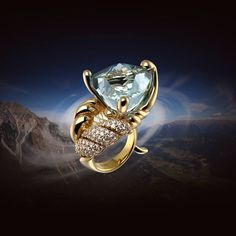 """Ring """"Whirlwind"""" gold 750, diamonds, topaz. The ring is specially made so as to carry a very large rock on her finger without the slightest inconvenience. Shape decorate unusual, but implies association with the Art Deco style. Www.gevorgian.ru #GEVORGIAN #jewelry #jewelrybrand #moscow # whirlwind #exclusive #russia #ring # Ring # topaz # trioprofit #junwex"""