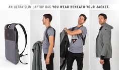 Make your laptop invisible! With its ultra-slim (1.5 in.) profile, the Under-The-Jack Pack is a laptop bag you wear under your jacket.