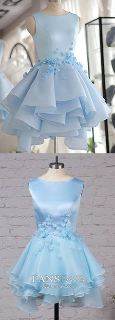 Blue Homecoming Dresses Short, Modest Prom Dresses for Teens, A-line Cocktail Party Dresses Satin, Gorgeous Sweet Sixteen Dresses Tulle Cute Dresses For Party, Formal Dresses For Teens, Dresses Short, Elegant Dresses, Dress Formal, Vintage Homecoming Dresses, Prom Dresses Blue, Cotillion Dresses, Bridesmaid Dresses