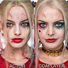 Harley quinn suicide squad diference between actoe and cosplayer Harley Quinn Halloween Costume, Halloween Looks, Couple Halloween Costumes, Halloween Outfits, Halloween Makeup, Harley Quinn Et Le Joker, Maquillage Harley Quinn, Tinta Facial, Fantasy Makeup