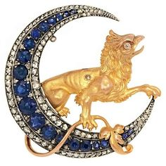 Vintage Sapphire Moon Brooch