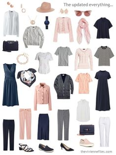 Packing Accessories for a Cruise, in a Navy, Blush, Grey and White Travel Capsule Wardrobe - The Vivienne Files Source by capsule wardrobe spring Capsule Outfits, Fashion Capsule, Fashion Outfits, Womens Fashion, Fashion Tips, Travel Outfits, Curvy Fashion, Vacation Outfits, Fall Fashion