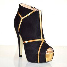 STIVALI TRONCHETTI donna scarpe spuntate nere decoltè stivaletti tacco alto  sexy plateau oro pelle scamosciata cerimonia da sera 19A imágenes cc94784007e