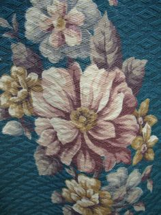 VTG 1910s 1920s early textured cretonne barkcloth rose floral bouquets fabric