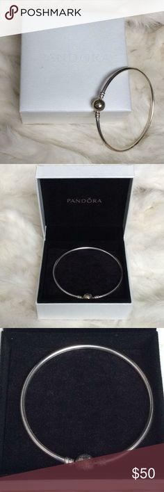 "Pandora sterling silver bracelet Elegant modern look. Engraved ""Pandora"" on the clasp. Pandora Jewelry Bracelets"
