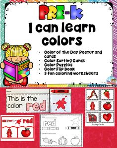 Color Activities for Preschool  If you are looking for a fun way to present colors to your little ones this is a perfect set!   This set includes: •Color of the Day Poster and cards •Color Sorting Cards •Color Puzzles •Color Flip Book (color and black and white) •3 fun coloring worksheets