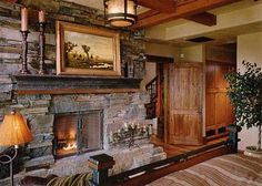 Stacked stone fireplace....great for Hearthroom :)