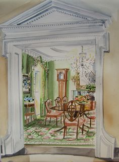 Watercolors of Interiors by Mita Bland | Mita Corsini Bland
