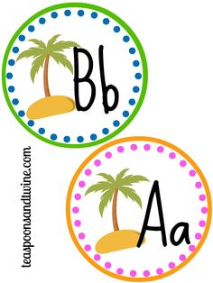 Teaspoons & Twine: Free printable letter circles. Perfect for my beach themed classroom!