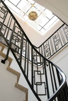 Staircase design by Pierre Yovanovitch so linear and chic #metalwork #architecturaldetails @Stylebeat Marisa Marcantonio Marisa Marcantonio loves it