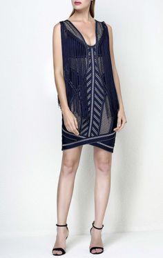 Purple Fringe Bandage Mini Dress