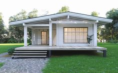 Architect designed the double-beam wooden house - the house was designed in accordance with modern t Bungalow House Plans, Dream House Plans, Small House Plans, House Floor Plans, Tyni House, Rest House, House In The Woods, Small Cottage Homes, Cottage Plan