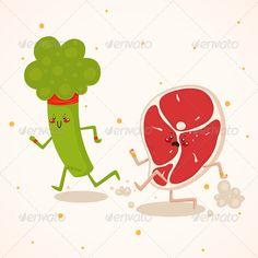 Broccoli vs Meat  #GraphicRiver         Broccoli vs meat, vegetables vs meat…
