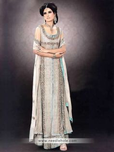 Platinum #formal #dress, rounded neck, dual slit embellished long shirt with sharara and dupatta http://www.needlehole.com/platinum-formal-dress-long-shirt-with-sharara-and-dupatta.html #Engagement #sharara and #formal #dresses by rani emaan. Pakistani sharara suits, #shalwar #kameez and indian shararas by rani emaan in uk, usa, australia, saudi arabia