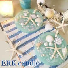 Simple marine wax bar (o ^^ o) It looks good for any marine display ♡ Fragrance is also popular plumeria ♡ Summer -!  Not yet?  Lol # candle # aroma # candle # aroma # marine # wax bar # wax sachet # shel # star fish # simple # refreshing # sea # summer # SUMMER # plumeria # ERKcandle
