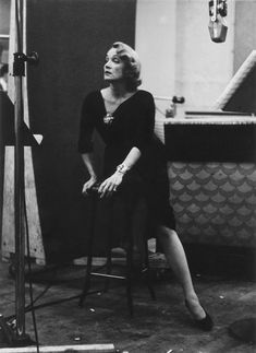 Marlene Dietrich by Eve Arnold during a midnight record session in NYC, 1952