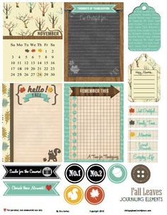 Free Fall Leaves Journal Cards and Labels from Vintage Glam Studios