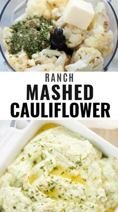 This easy recipe for creamy ranch cauliflower mash is made with simple ingredients. The best way to make mashed cauliflo Ketogenic Side Dishes, Healthy Side Dishes, Side Dish Recipes, Veggie Recipes, Real Food Recipes, Keto Recipes, Yummy Recipes, Dinner Recipes, Healthy Recipes