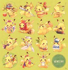 Why is Pikachu so cute!: Pikachu as Anime Characters Pichu Pikachu Raichu, Cute Pikachu, Pokemon Comics, My Pokemon, Pokemon Images, Pokemon Pictures, Kawaii Art, Kawaii Anime, Cute Chibi