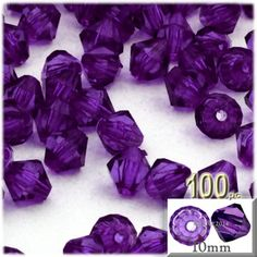 100-pc Plastic Bicone Beads, Faceted, 10mm, Purple