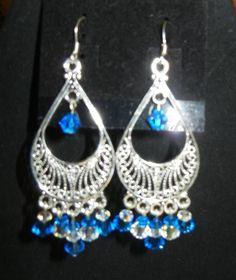 Swarovski crystal shappire chandelier earrings