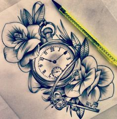 Pocket watch and flowers.