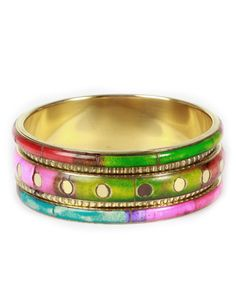 Mixed Colour Gold Chunky Tribal Bangle #ChiaraFashion