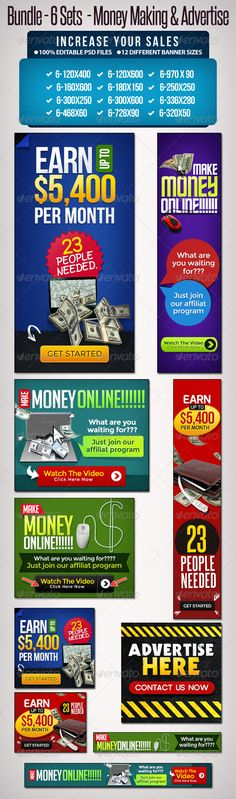 Bundle Sets -Make Money Online & Advertise. To help discover this adroll banners, adwords banners, animated banners, … Earn Money From Internet, Get Money Online, Make Money On Amazon, Online Income, Online Earning, How To Get Money, How To Find Out, Online Survey, Online High School