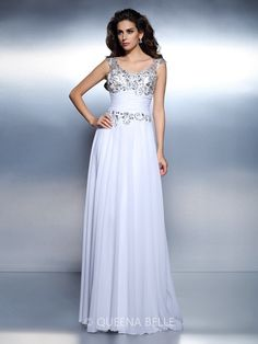 A-Line/Princess Scoop Sleeveless Beading Rhinestone Floor-Length Chiffon Dresses