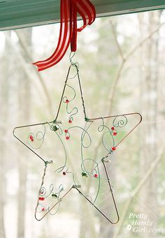 star made from plumbing materials, jingle bells, colored beads, and utility wire {tutorial}