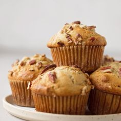 Make breakfast a little sweeter with these sky-high banana nut muffins. Tender, perfectly spiced, and loaded with chopped nuts. Best Banana Nut Muffin Recipe, Banana Nut Muffins, Banana Nut Bread, Banana Recipes, Muffin Recipes, Bran Muffins, Baked Banana, Breakfast Burritos, Sausage Breakfast