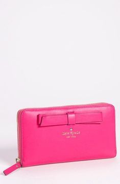 kate spade new york 'hancock park - lacey' leather zip wallet Zinnia Pink One Size on shopstyle.co.uk
