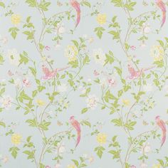 Summer Palace Duck Egg Floral wallpaper by Laura Ashley. Wallpaper Lounge, Doll House Wallpaper, Wallpaper Stencil, Print Wallpaper, Bedroom Wallpaper, Bird Wallpaper, Kitchen Wallpaper, Wallpaper Ideas, Laura Ashley