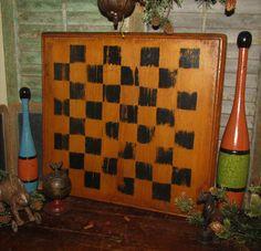 Primitive 1800s Antique Vtg Carved Wood Frame Checkers Game Board Gameboard #NaivePrimitive