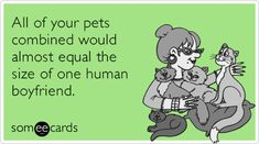 All of your pets combined would almost equal the size of one human boyfriend.