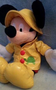 "RARE 13"" Disneys Mickey Mouse stuffed animal in a Yellow Raincoat for boy&girl! #Disney"