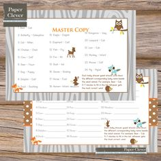 Woodland Animal Baby Shower Game baby animal match by paperclever, $6.00