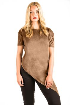 Tatiana Faux Suede Asymmetric Top in Camel Brown