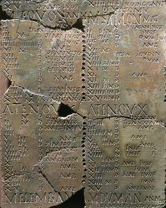 Celtic civilization, France, 1st century b.C. Calender on bronze plates. Detail. From Coligny. Artwork-location: Lyon, Musée De La Civilisation Gallo-Romaine (Archaeological Museum)