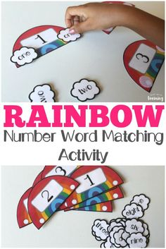 Work on math skills with this fun rainbow number word matching activity for kids! #preschool #math #learning